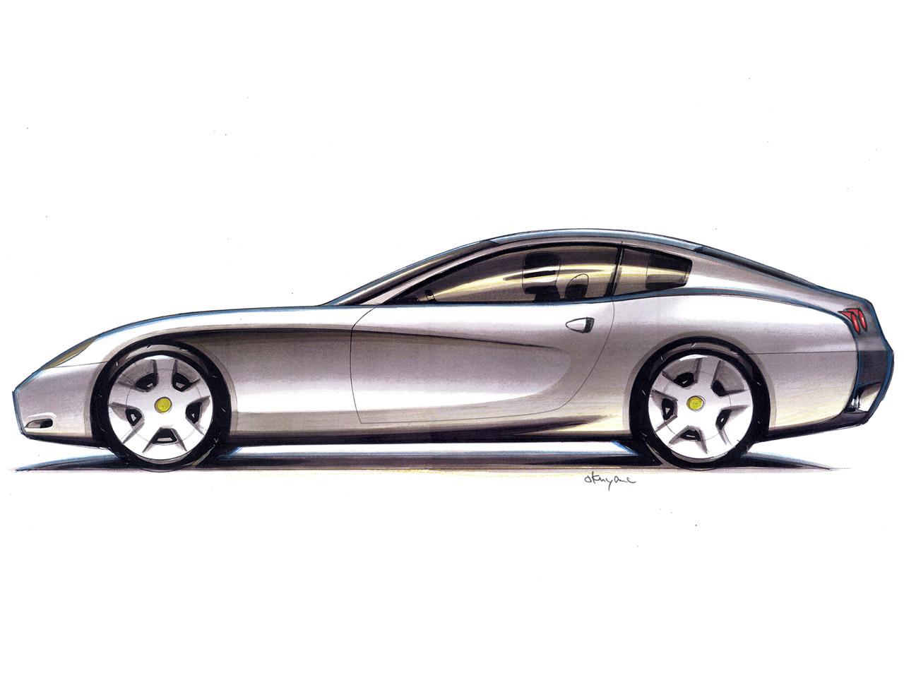 ferrari-612-scaglietti-drawing-side alquiler coches de lujo madrid marbella ibiza barcelona valencia